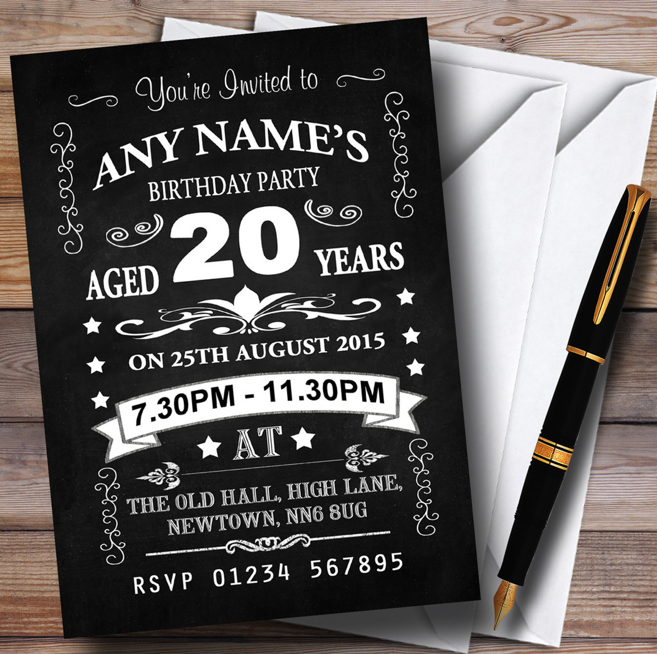 Vintage Chalkboard Style Black And White 20Th Birthday Party Personalised Invitations