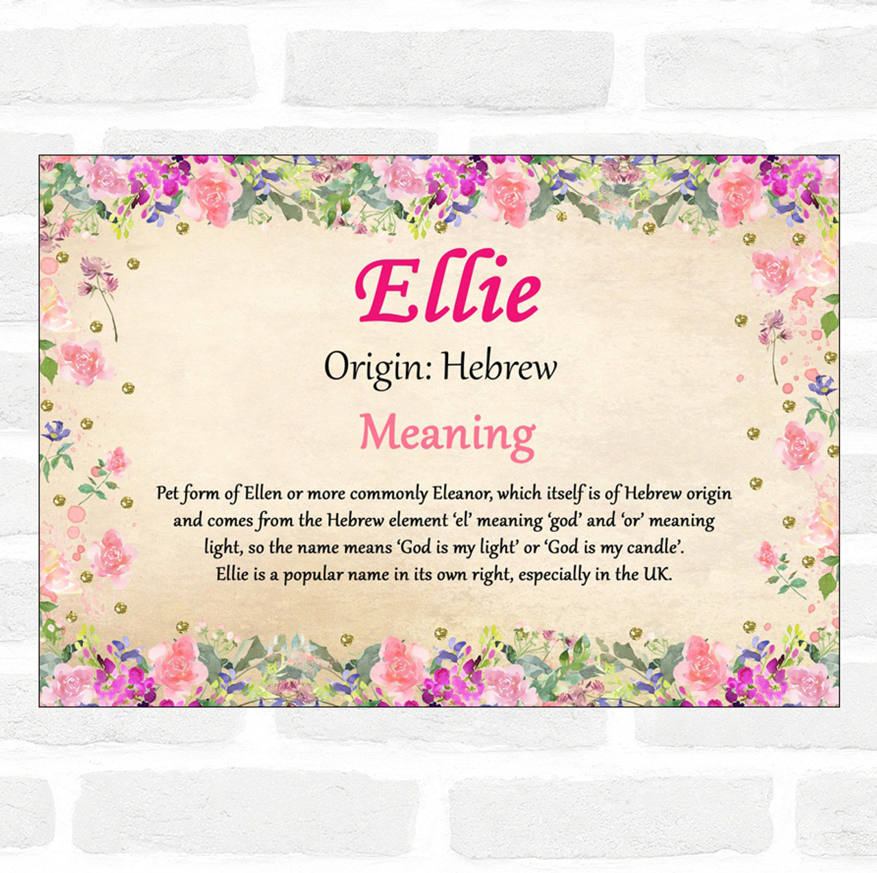 Ellie Name Meaning Floral Certificate