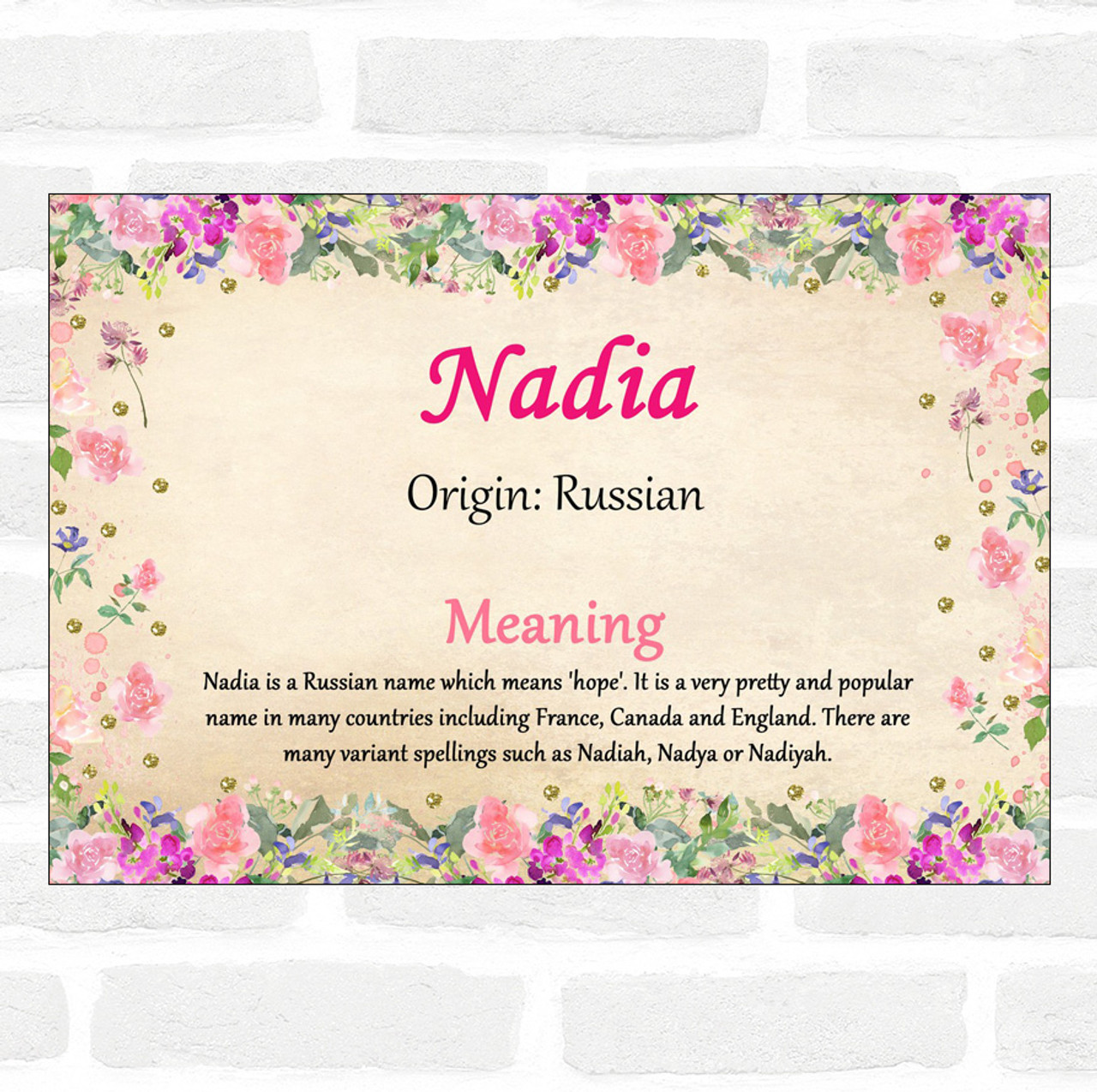 Nadia Name Meaning Floral Certificate - The Card Zoo