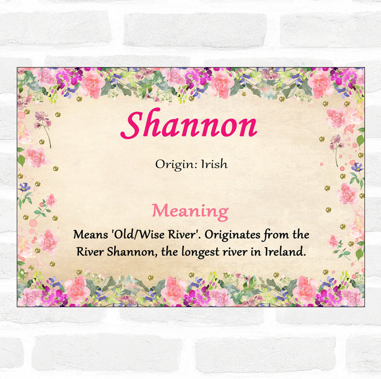 shannon name meaning floral certificate  the card zoo