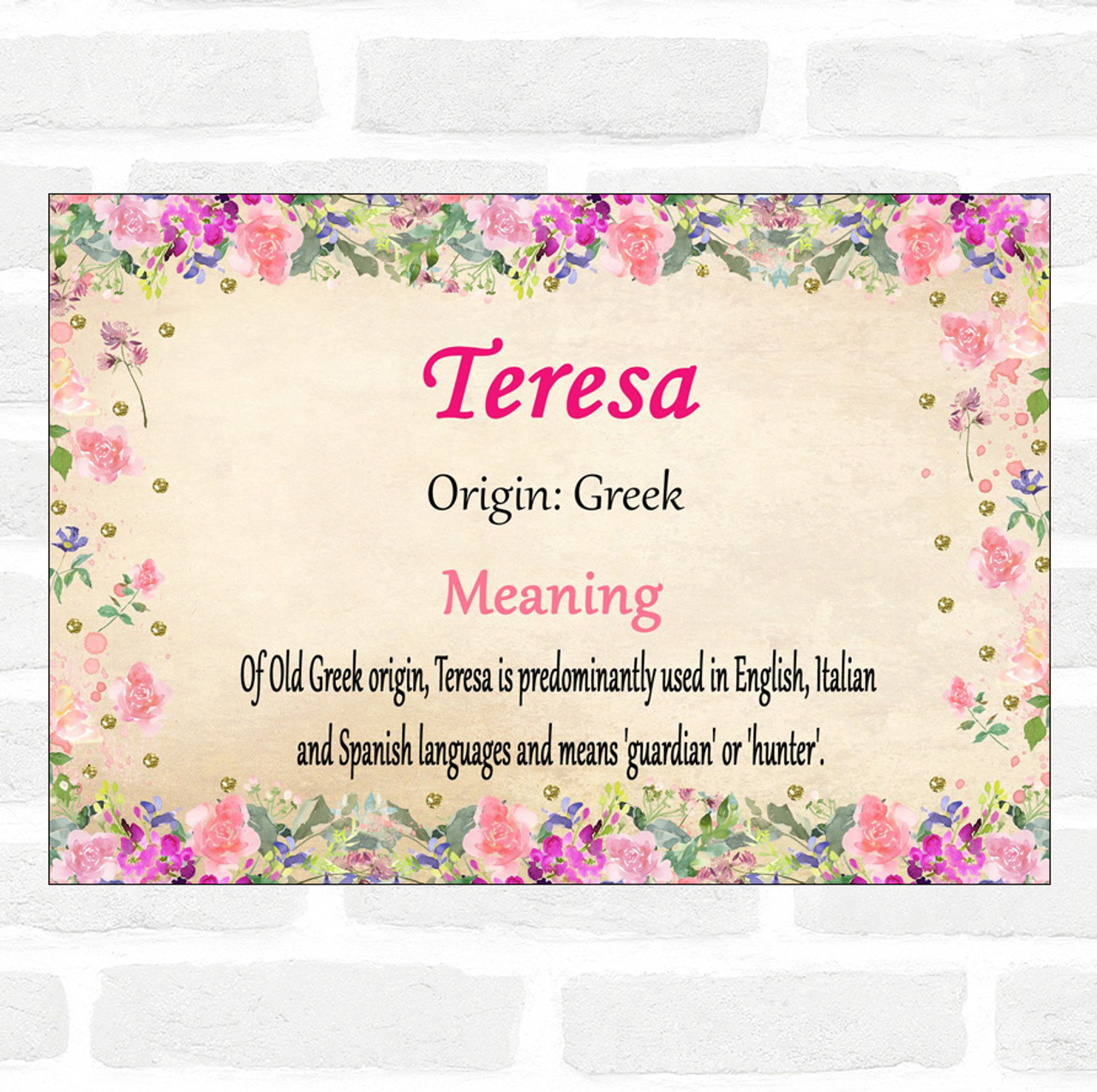 Teresa Name Meaning Floral Certificate
