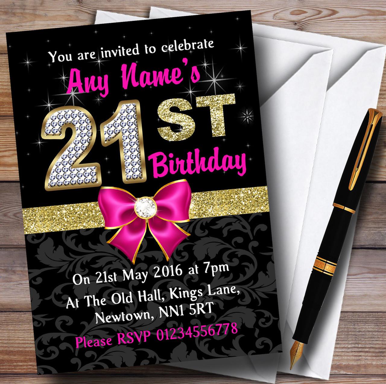 Pink Black Gold Diamond 21St Birthday Party Personalised Invitations