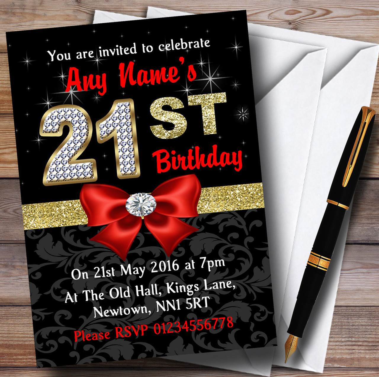 Red Black Gold Diamond 21St Birthday Party Personalised Invitations