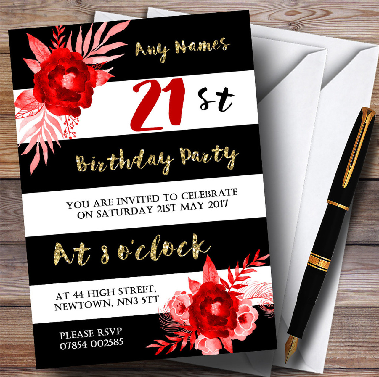 black white striped gold red flower 21st personalised birthday party