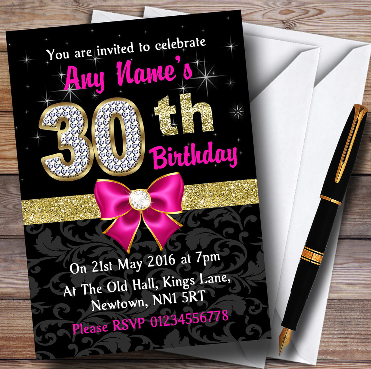 Pink Black Gold Diamond 30Th Birthday Party Personalised Invitations