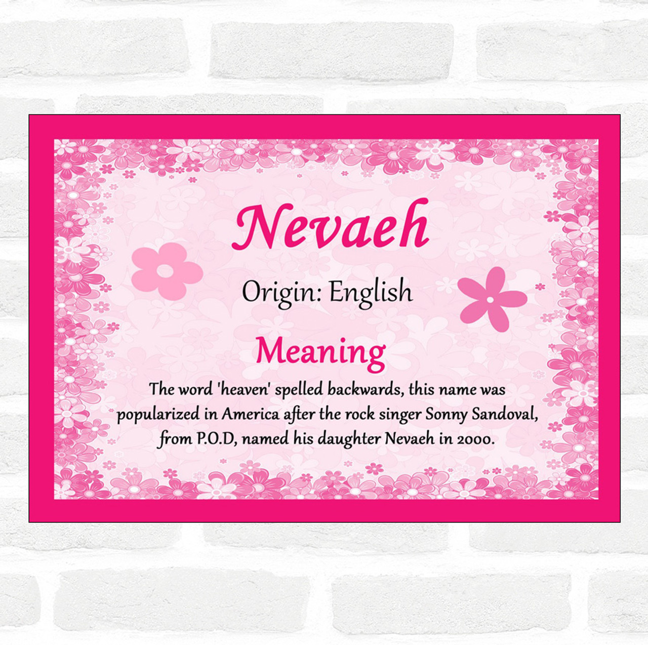 Nevaeh Name Meaning Pink Certificate - The Card Zoo