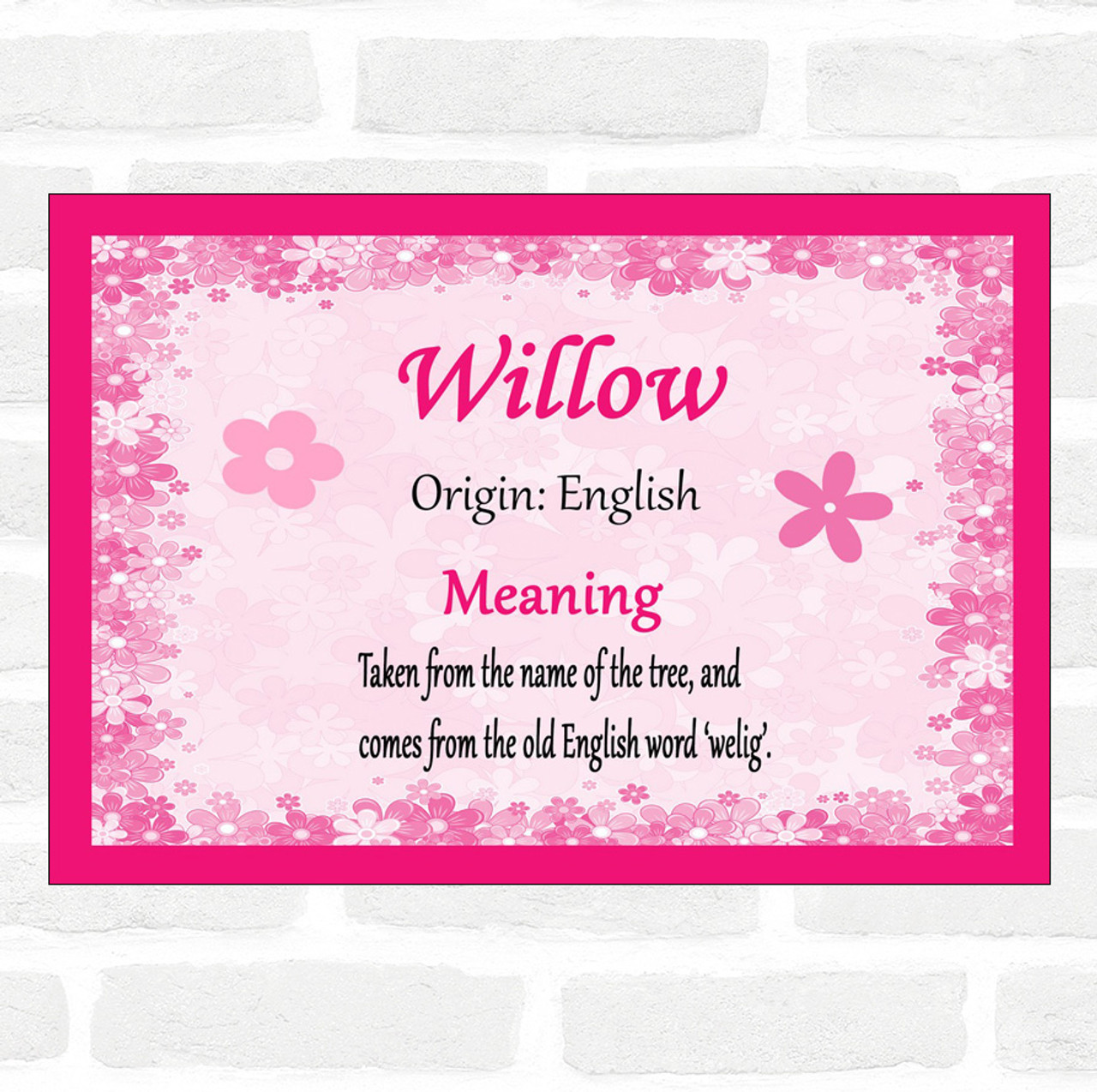 Willow Name Meaning Pink Certificate - The Card Zoo
