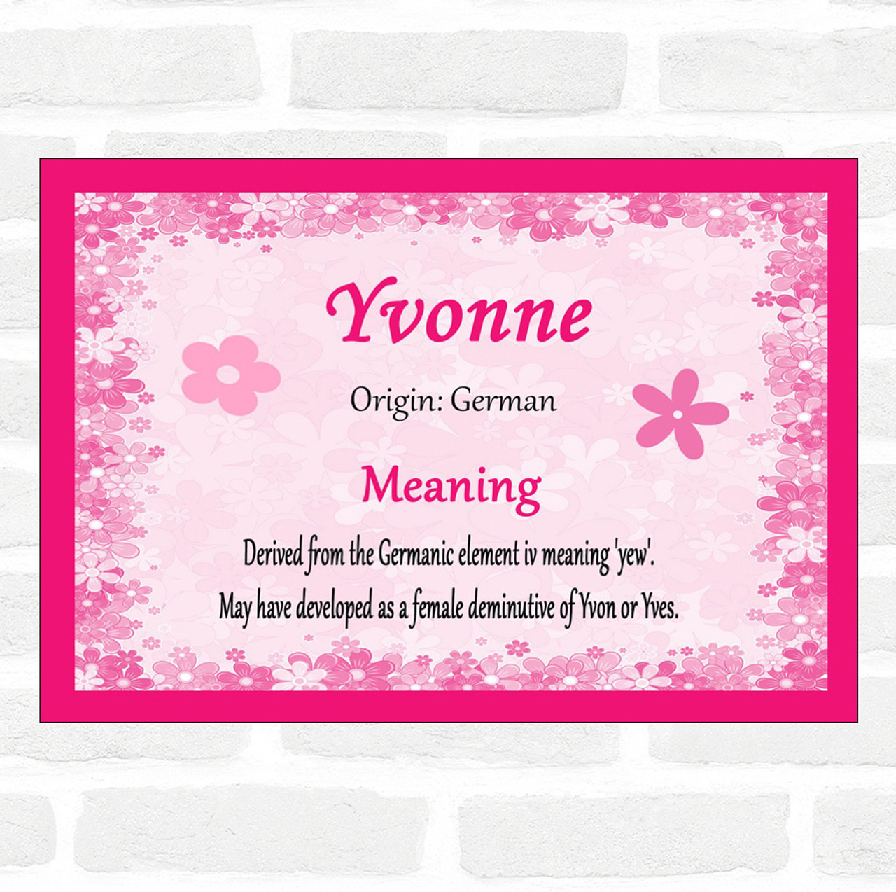 Yvonne Name Meaning Pink Certificate - The Card Zoo