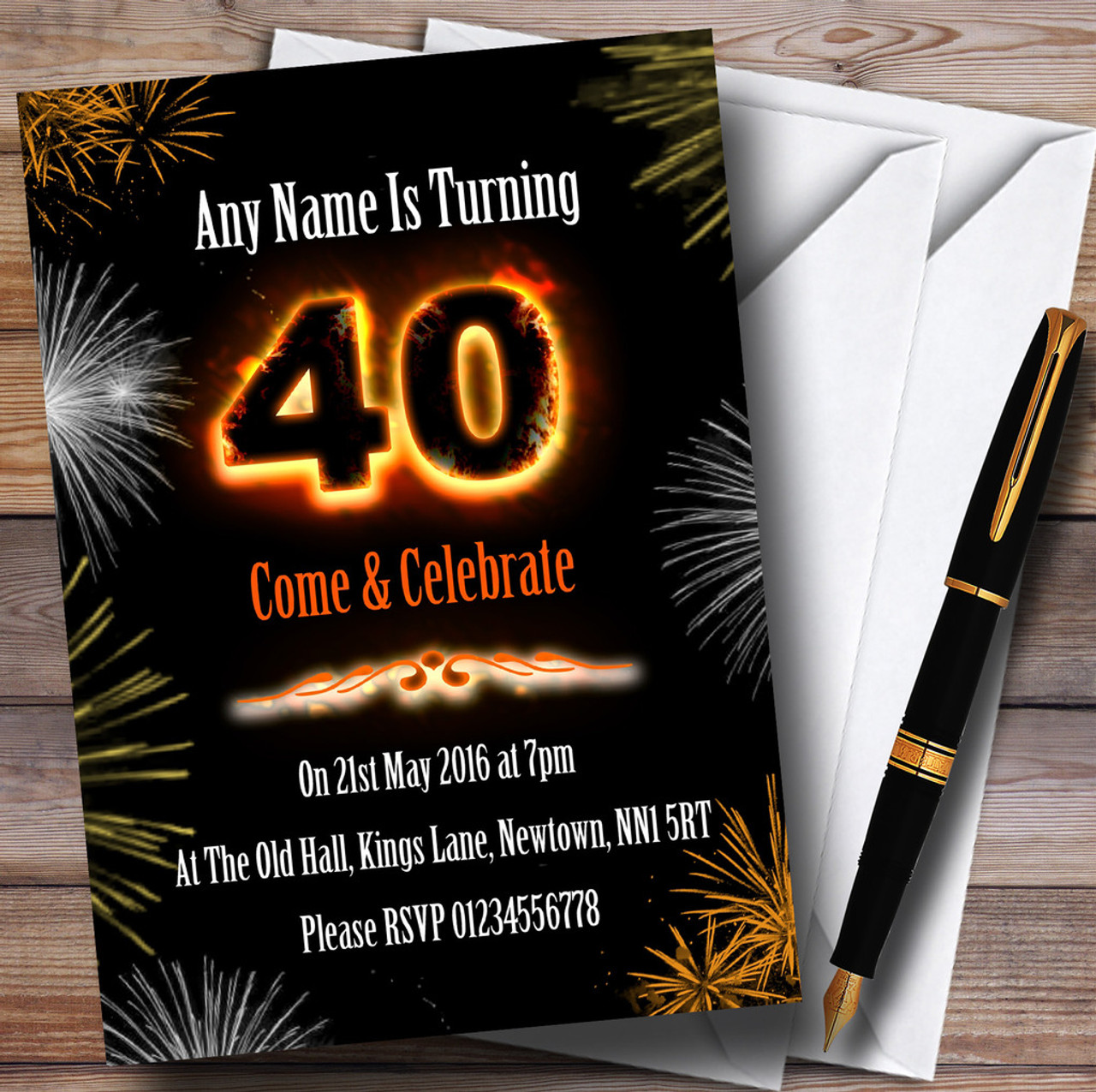 Fire And Fireworks 40Th Birthday Party Personalised Invitations