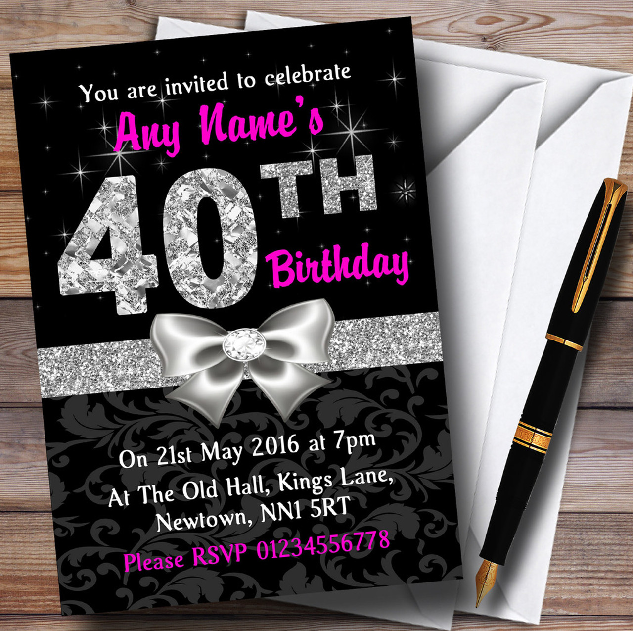 Pink Black Silver Diamond 40Th Birthday Party Personalised Invitations