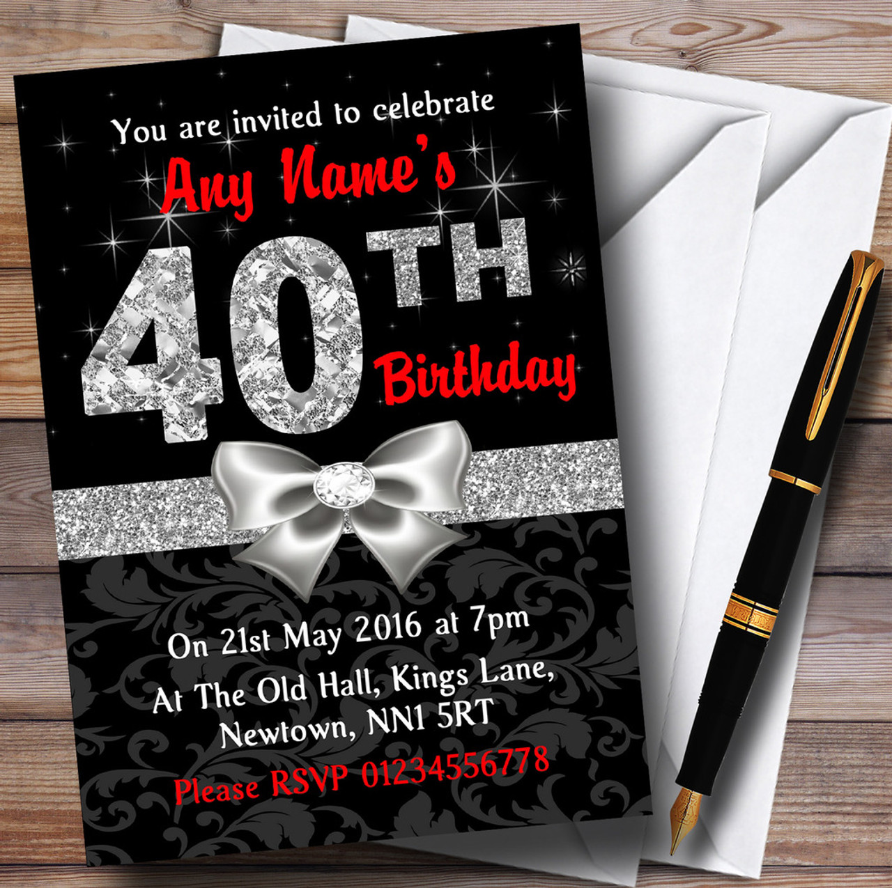Red Black Silver Diamond 40Th Birthday Party Personalised Invitations