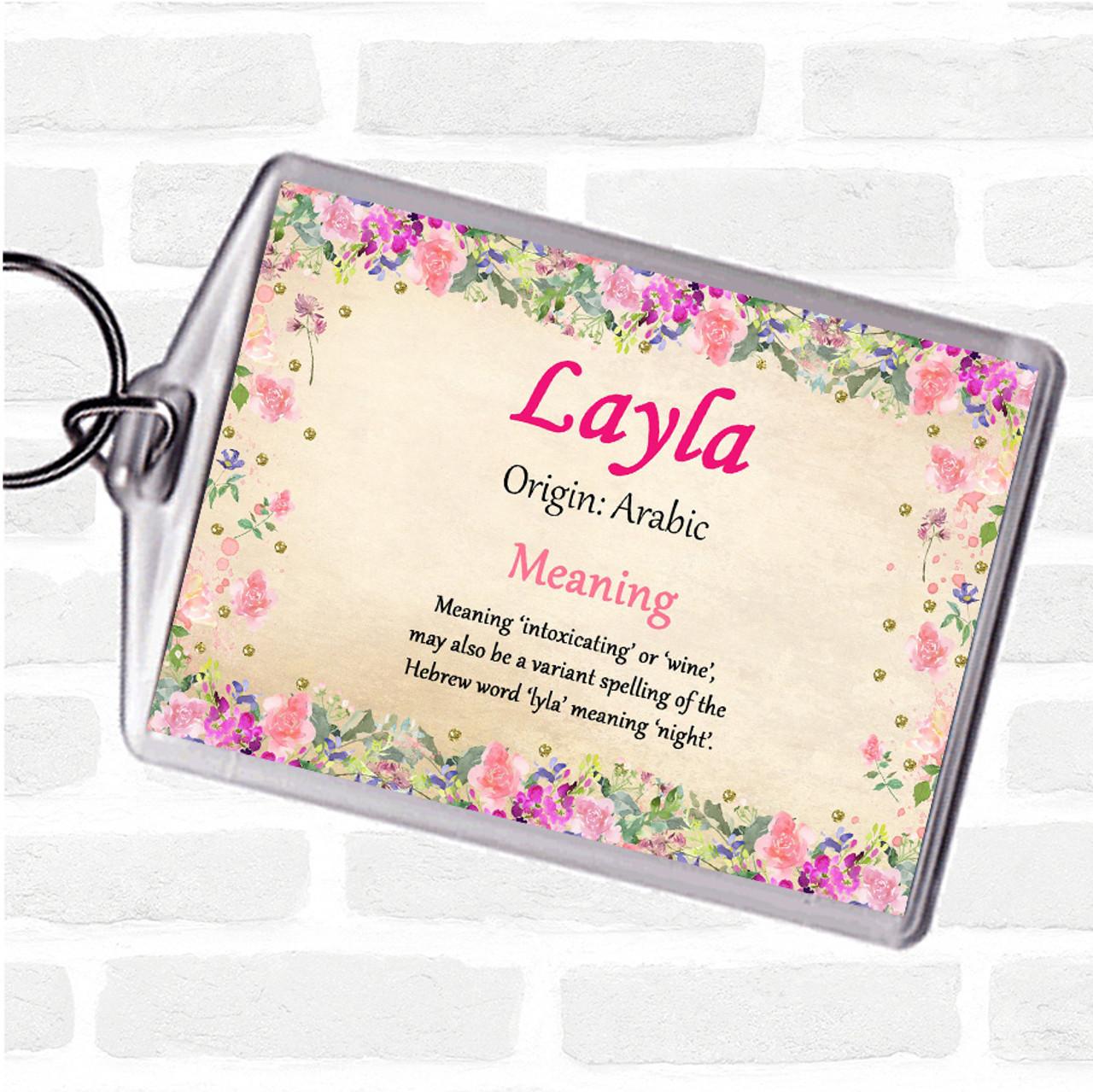 Layla Personalised Name Meaning Keyring