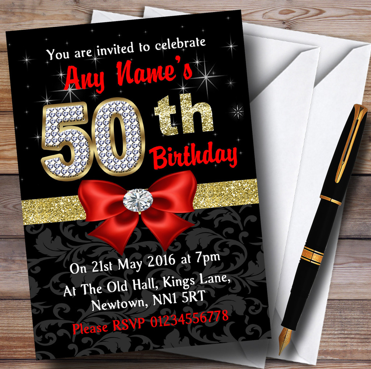 Red Black Gold Diamond 50Th Birthday Party Personalised Invitations