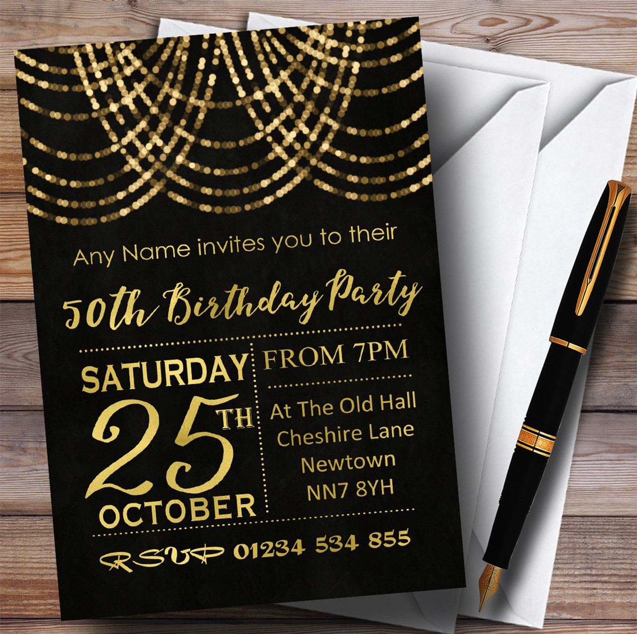 Gold Draped Garland 50th Personalised Birthday Party Invitations