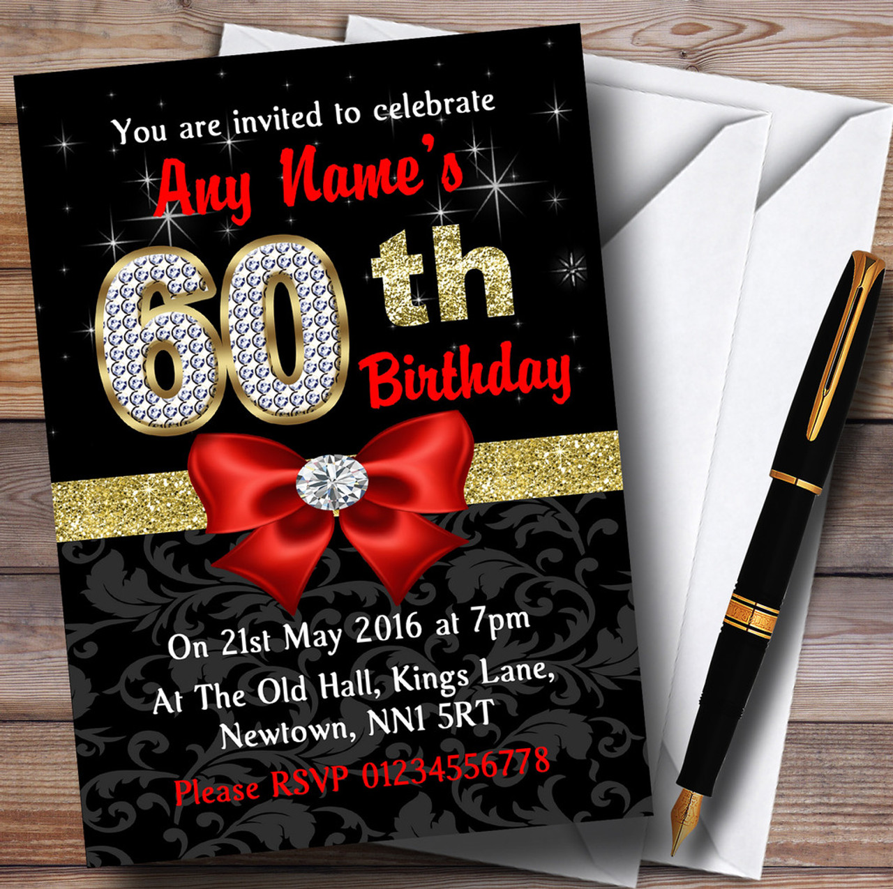 Red Black Gold Diamond 60Th Birthday Party Personalised Invitations