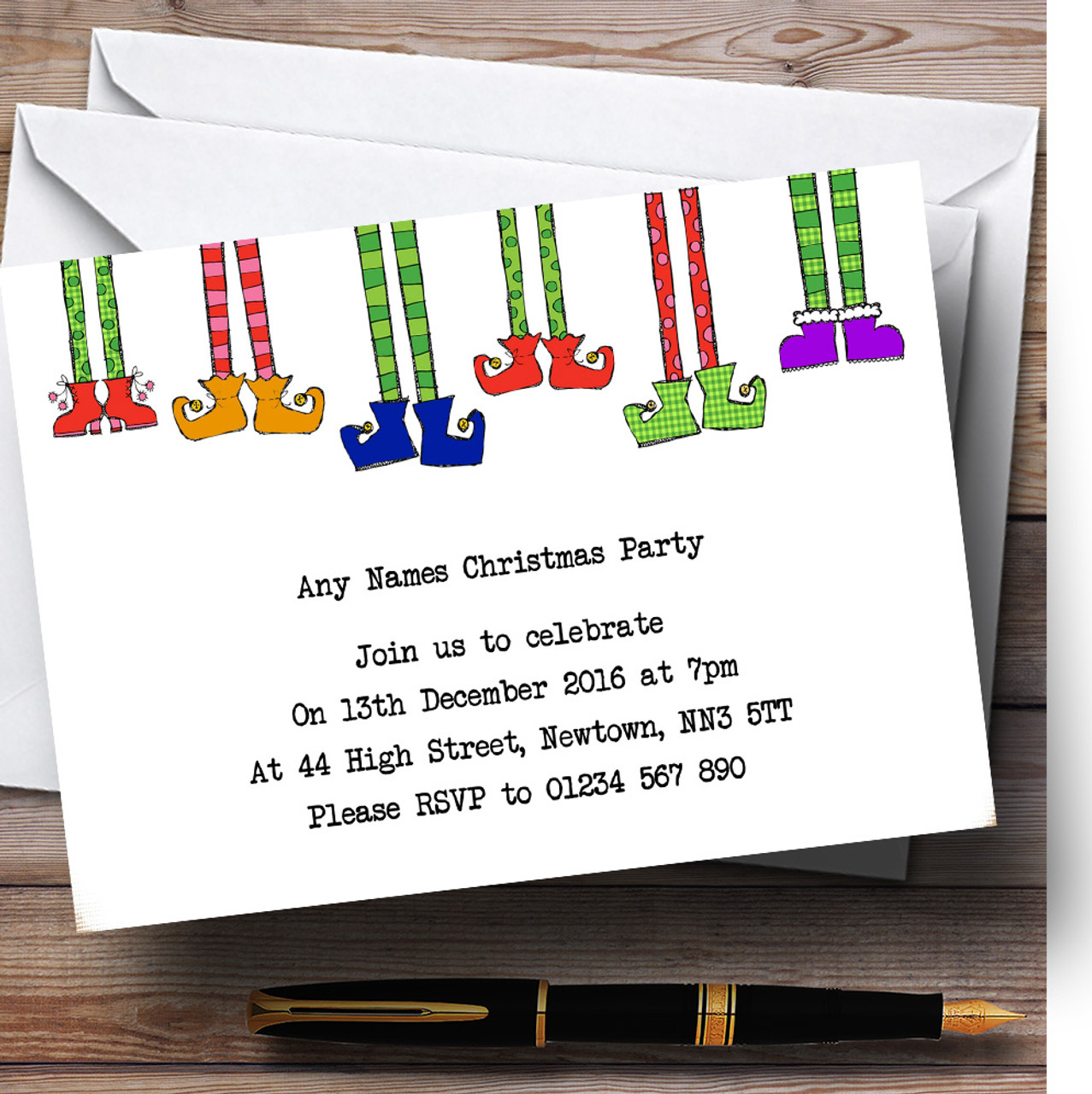 Funny Christmas Party Names.Funny Elf Legs Personalised Christmas Party Invitations