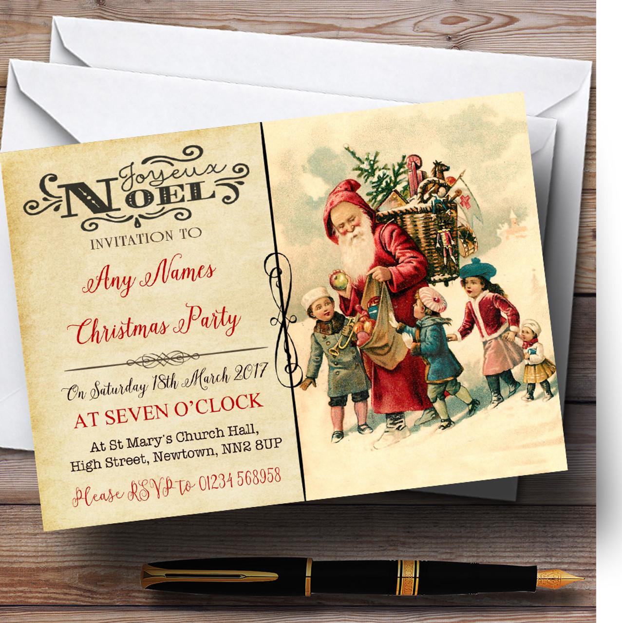 noel vintage postcard santa children personalised christmas party