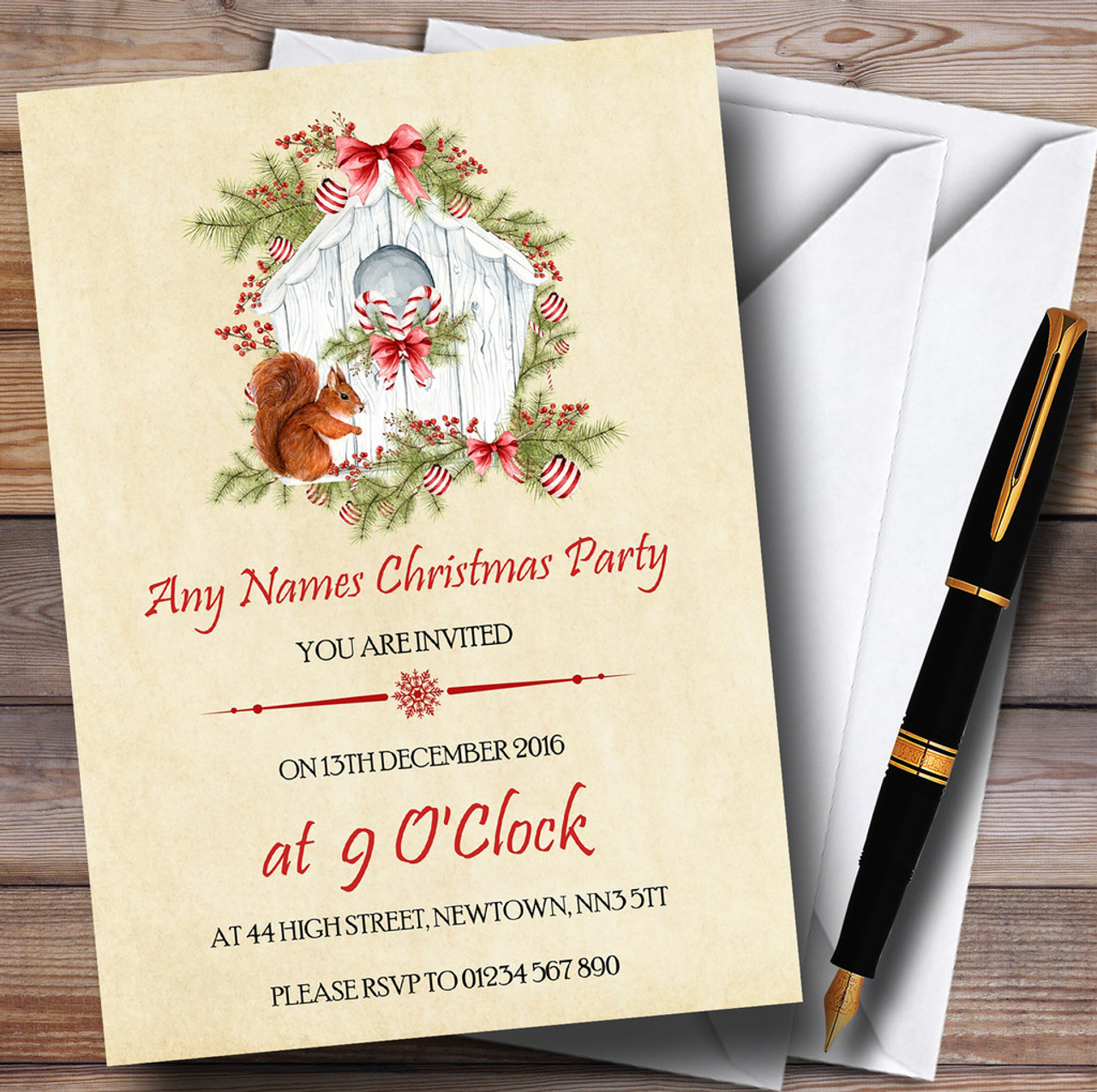 Pretty Vintage Squirrel Personalised Christmas Party Invitations