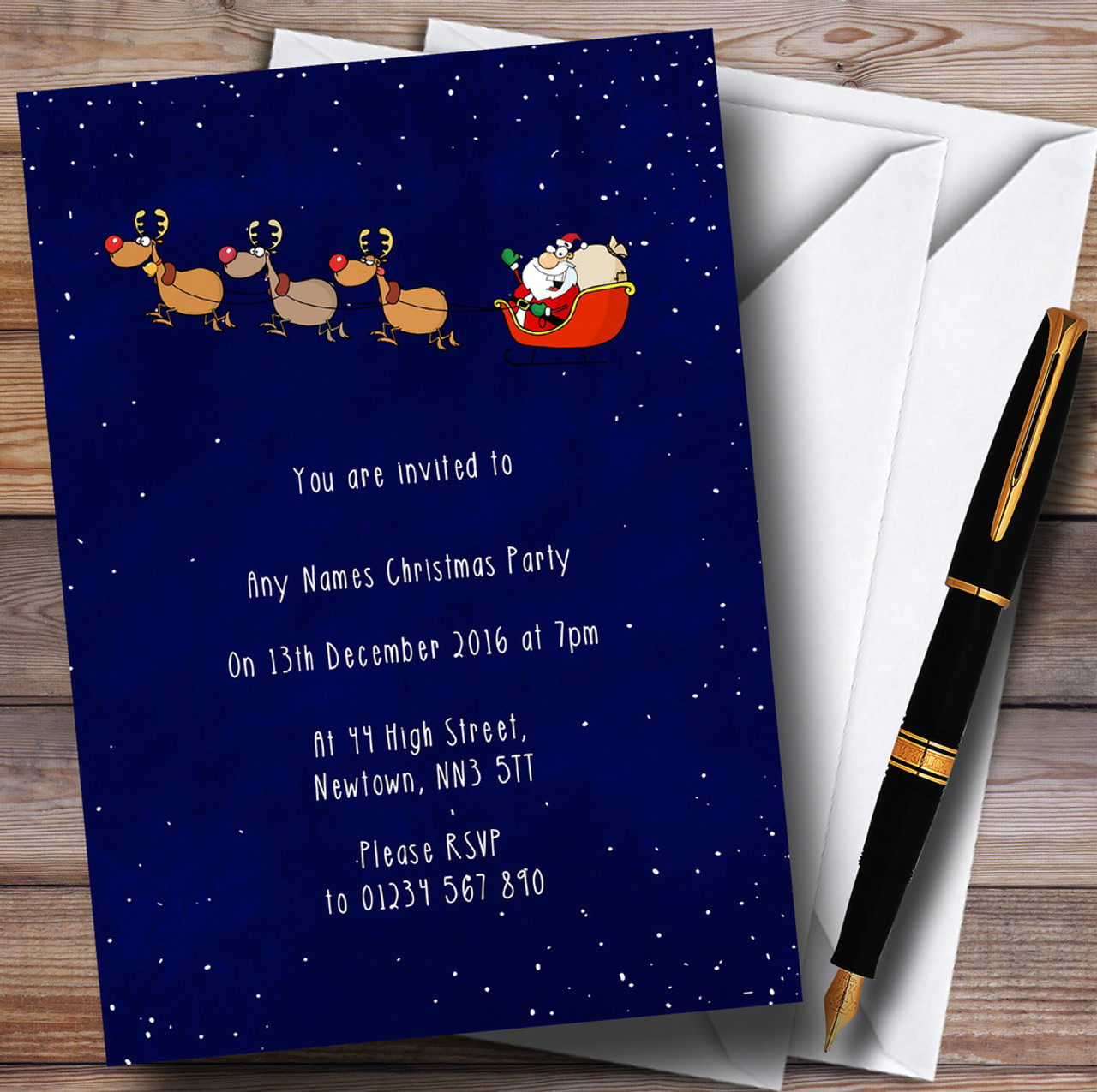 Santa Sleigh At Night Personalised Christmas Party Invitations The