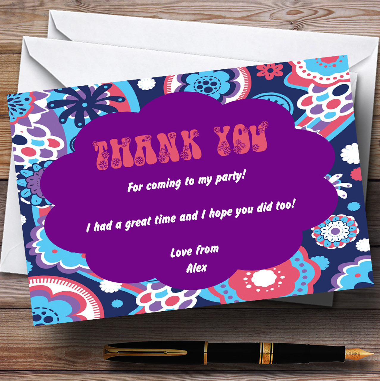 Retro Hippie Hippy Pink Yellow Personalized Party Thank You Cards