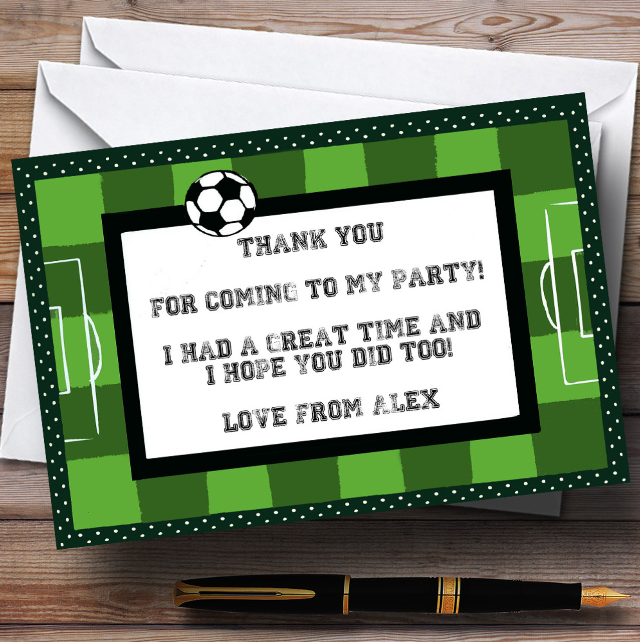 Footballs Personalised Children/'s Party Thank You Cards