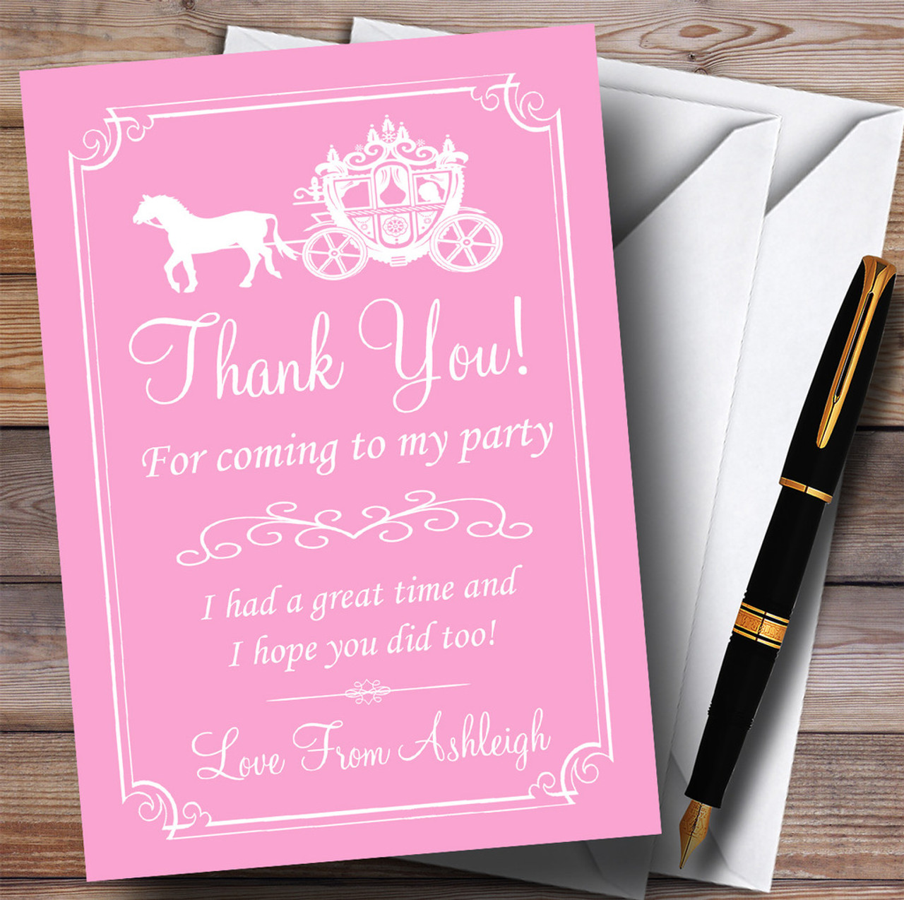 Horse And Carriage Chic Princess Personalised Birthday Party Thank You Cards