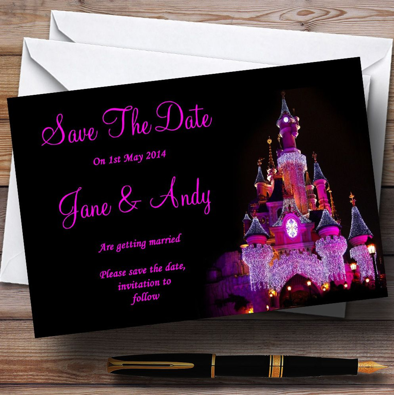 Christmas Save The Date Cards.Pink Disney Castle Personalised Wedding Save The Date Cards