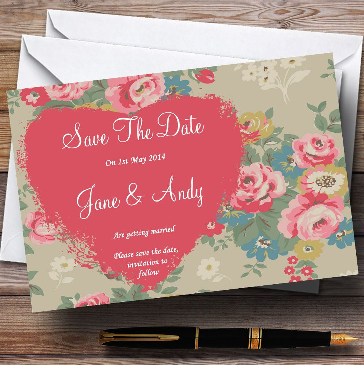 Floral  Inspired Vintage Personalised Wedding Save The Date Cards