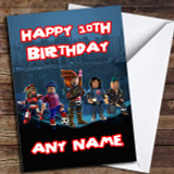 Blue Roblox Personalised Birthday Card