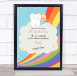 Blonde Girl Rainbow Tooth Fairy Personalised Certificate Award Print