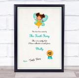 Tooth Fairy Teal Personalised Certificate Award Print
