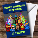 Personalised Minecraft Party Characters Children's Birthday Card