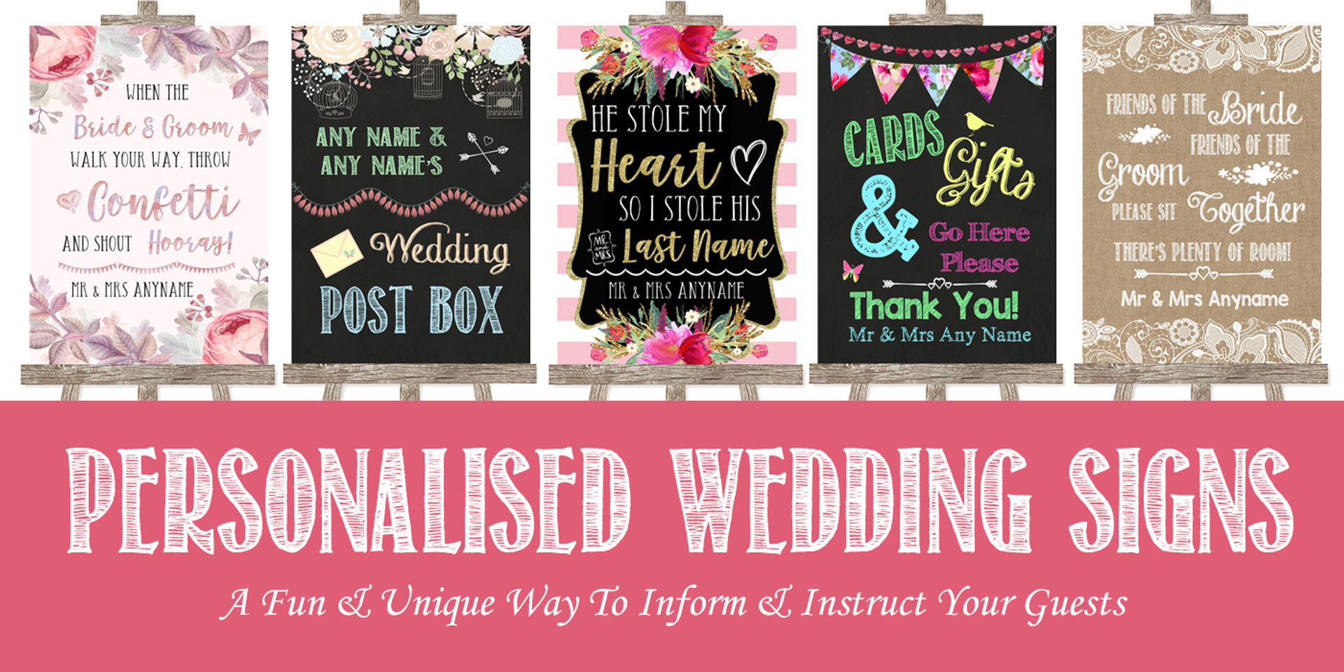 Personalised Wedding Signs | The Card Zoo