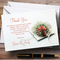 Orange Coral Peach Rose Rings Personalized Wedding Thank You Cards