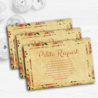 Vintage Sage Green Postcard Style Custom Wedding Gift Request Money Poem Cards