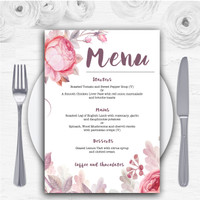 Beautiful Watercolour Floral Personalised Wedding Menu Cards