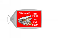 Keep Calm And Eat Pizza Personalised Large Keyring