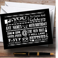 Cool Fun Chalk Typography Pale Pink Personalised Birthday Party Invitations
