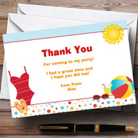 Beach Sandcastle Pool Personalized Birthday Party Thank You Cards