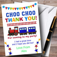 Stars /& Bunting Train Party Thank You Cards