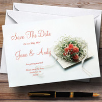 Peach Ivory Cream Rose Garden Personalized Wedding Save The Date Cards