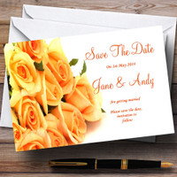 Orange Yellow Roses Personalized Wedding Save The Date Cards