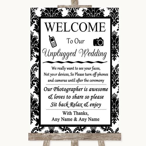 Black And White Damask I Spy Photo Camera Personalised Wedding Sign