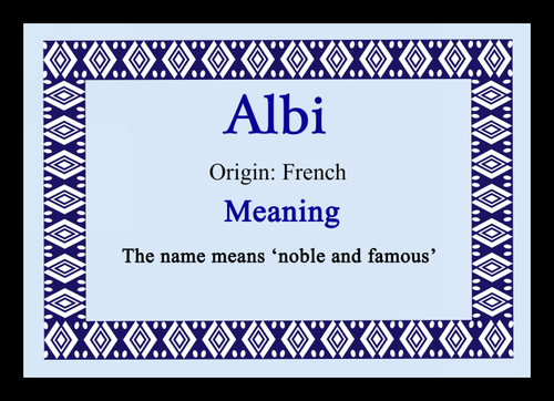 Alby Personalised Name Meaning Keyring