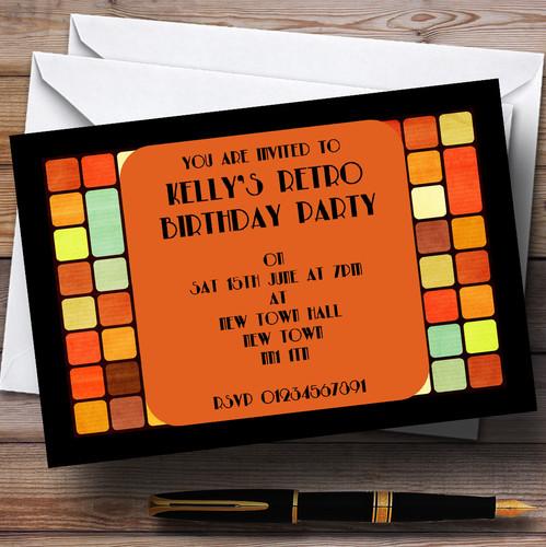 RETRO DANCE FLOOR  DISCO  Personalised Birthday Party Invitations A6 envelopes