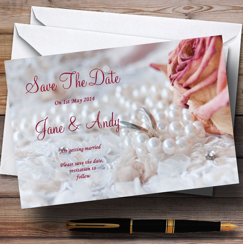 Pink Roses Pearls Champagne Personalised Wedding Save The Date Cards