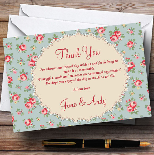 Floral  Inspired Vintage Personalised Wedding Thank You Cards