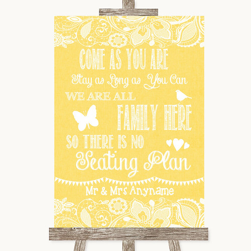 Grey Burlap /& Lace All Family No Seating Plan Personalised Wedding Sign