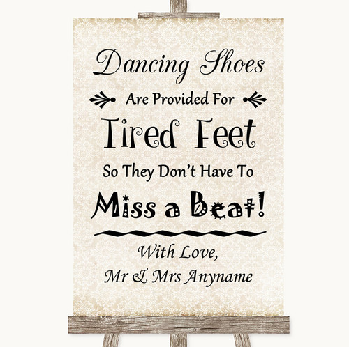 2fbed13fc Shabby Chic Ivory Dancing Shoes Flip-Flop Tired Feet Personalised Wedding  Sign