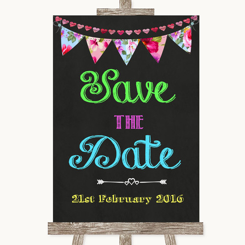 Bright Bunting Chalk Save The Date Personalised Wedding Sign
